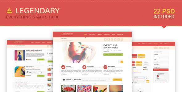 Legendary | Multi-purpose PSD Template - Creative PSD Templates