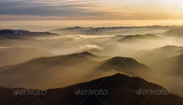 mountain mist - Stock Photo - Images