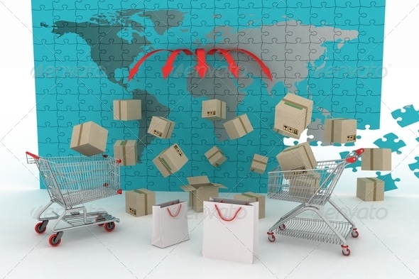 concept of shipping everywhere - Stock Photo - Images