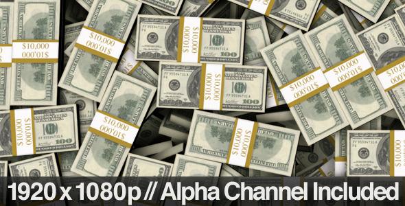 Stacked Bundles Of 100 Bills Fill Screen Overlay Motion