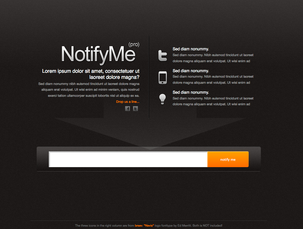 NotifyMe - Full frontpage view