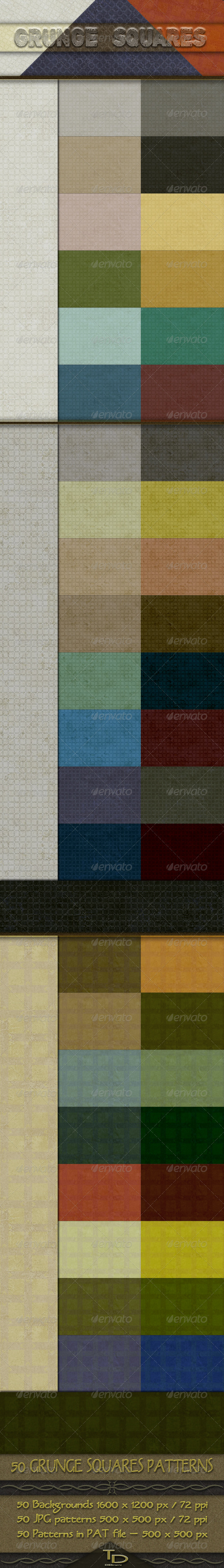 50 Grunge Squares Background Patterns - Urban Textures / Fills / Patterns