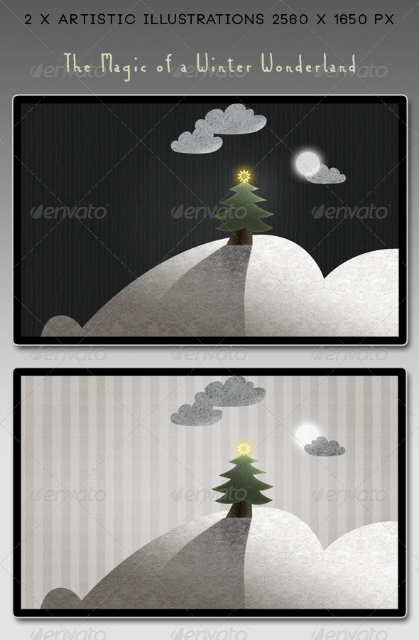 Winter Moon Landscape: Christmas Season - Nature Backgrounds