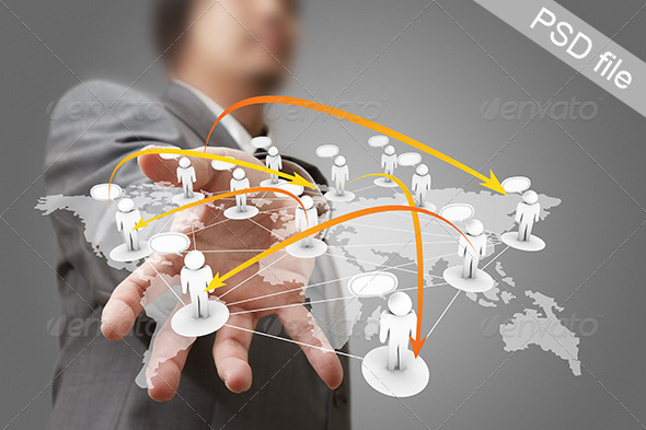 GraphicRiver Businessman Hand Holds Social Network 3118246