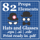 Hats and Glasses for Photo Booth Props - GraphicRiver Item for Sale