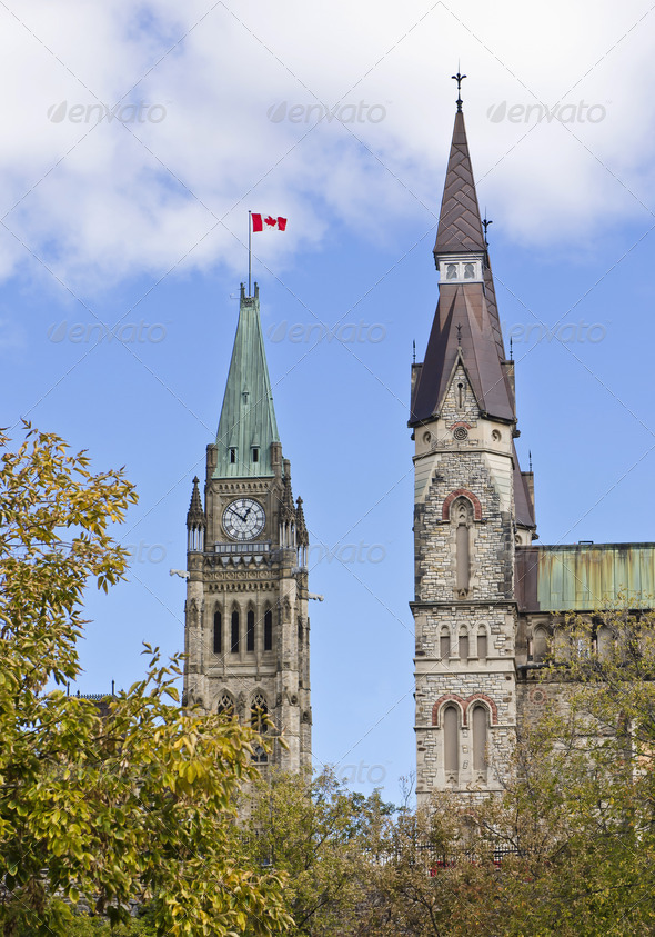 Centre and West Block Towers - Stock Photo - Images