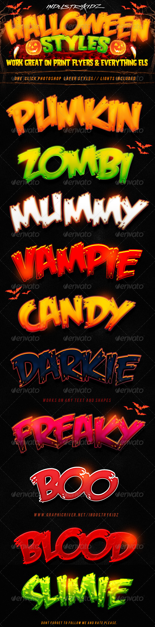 Halloween Photoshop Layer Styles  - Text Effects Styles