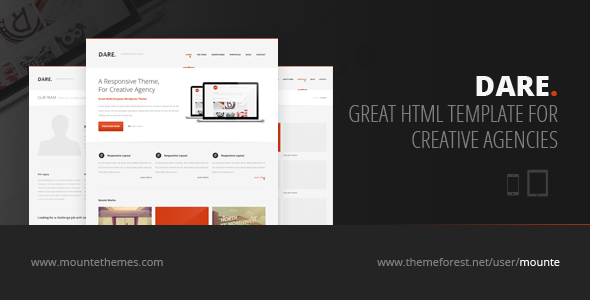 Dare - Responsive HTML Template - Creative Site Templates