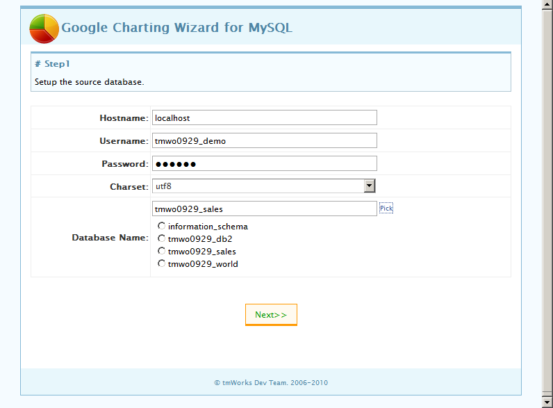 Google Charting Wizard for MySQL