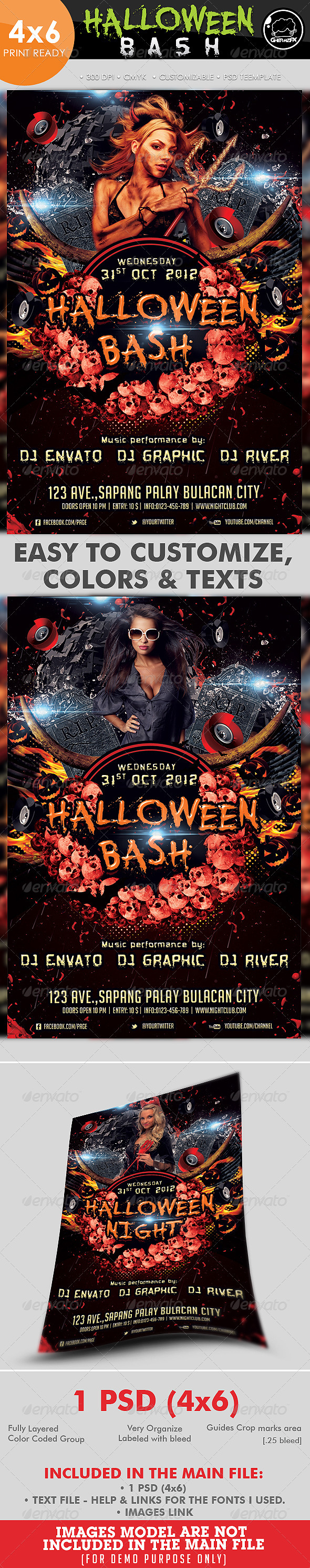 Halloween Bash Party Flyer Template - Clubs & Parties Events