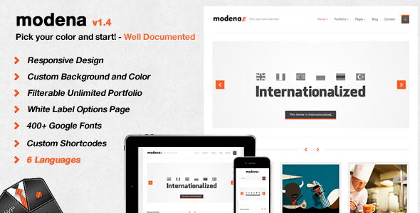 ThemeForest Modena Responsive Portfolio WordPress Theme 2504058