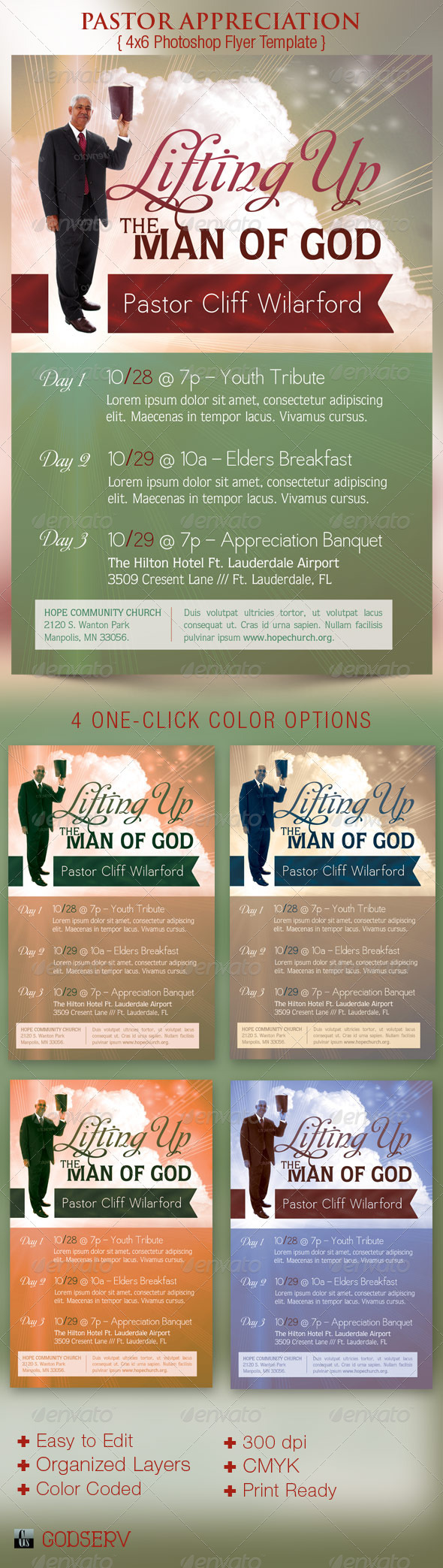 Pastor Appreciation Church Flyer Template - Church Flyers
