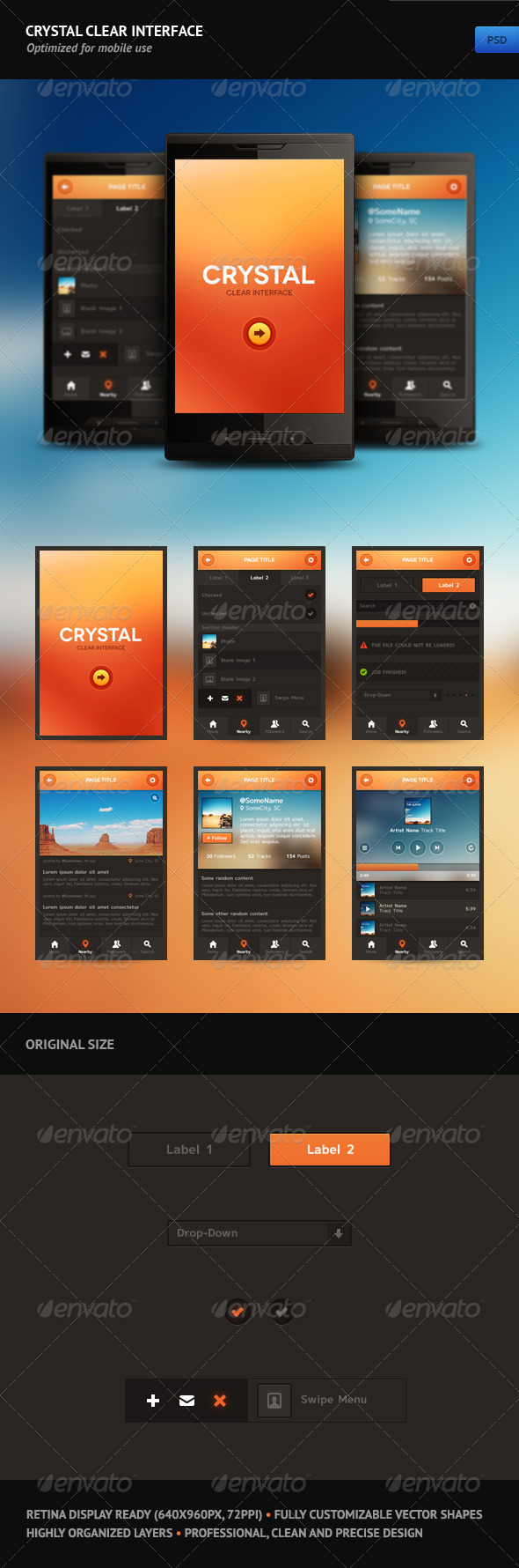 Crystal Clear Interface - User Interfaces Web Elements