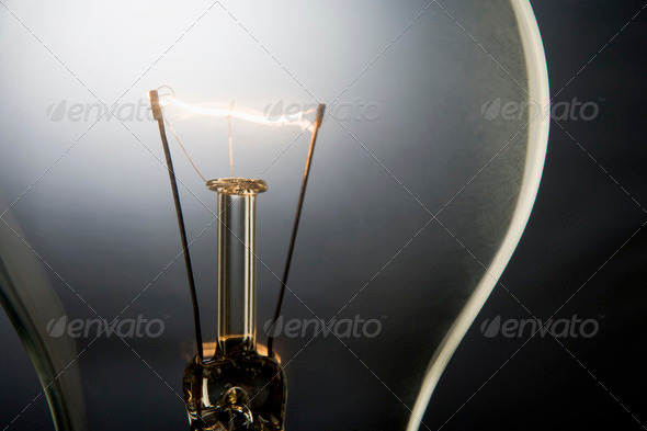 Illuminated Light Bulb - Stock Photo - Images
