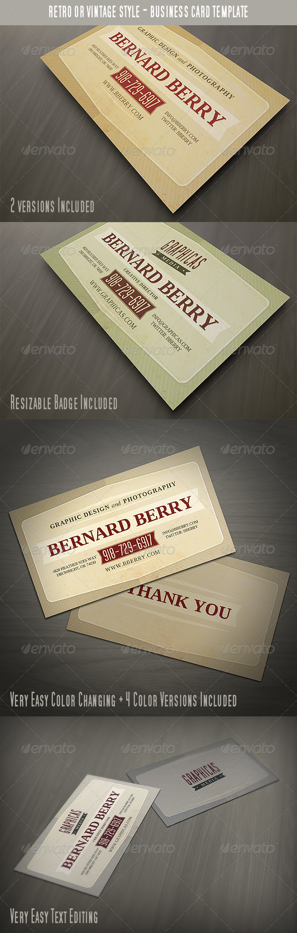 Retro or Vintage Style Business Card - Retro/Vintage Business Cards