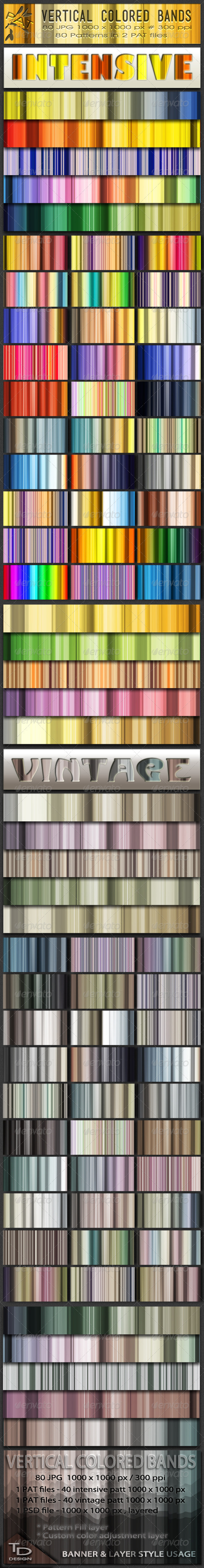 Vertical Colored Bands Patterns Set - Abstract Textures / Fills / Patterns