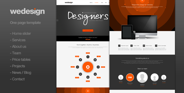 ThemeForest We Design One page portfolio PSD Templates Creative Portfolio 3155176