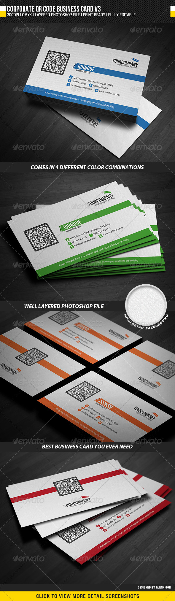 Corporate QR Code Business Card V3 - Corporate Business Cards