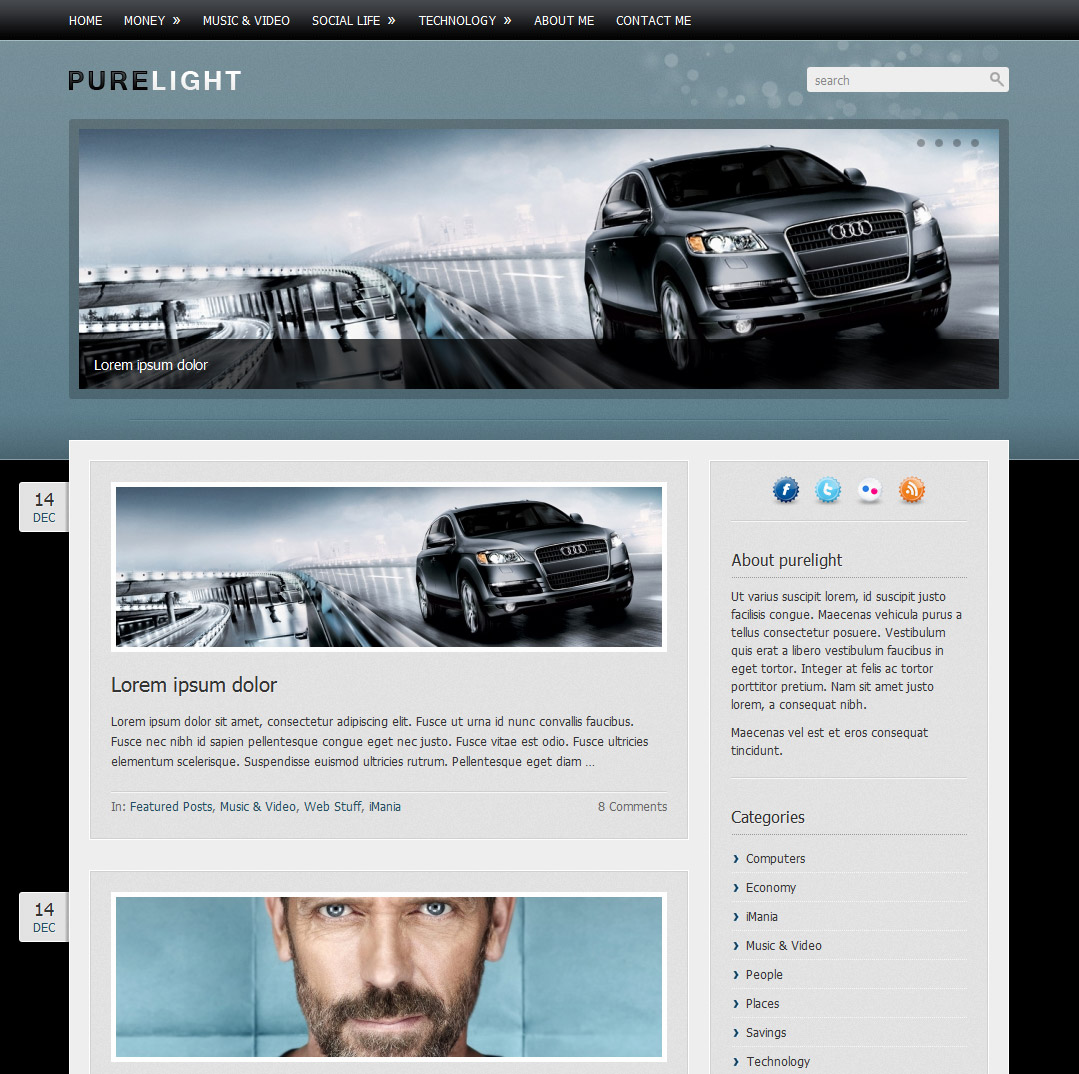Purelight Wordpress Theme - Blue style overview