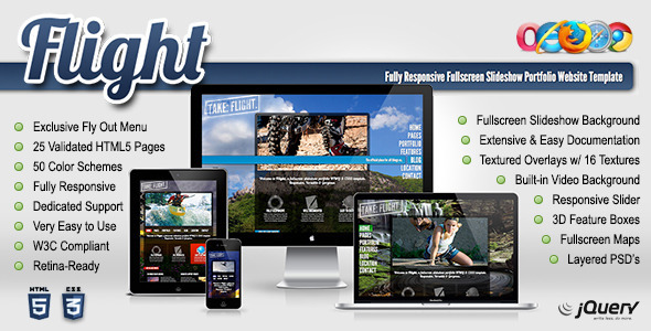 Flight - Responsive Fullscreen Background Template - Portfolio Creative