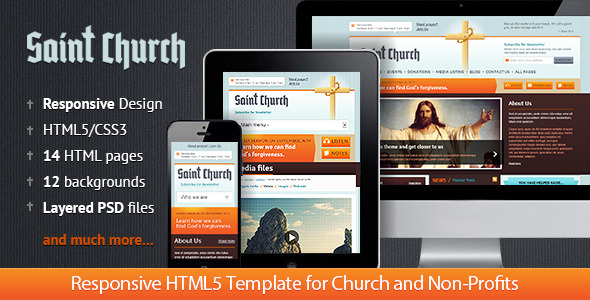 SaintChurch: Responsive HTML5 Template - Churches Nonprofit
