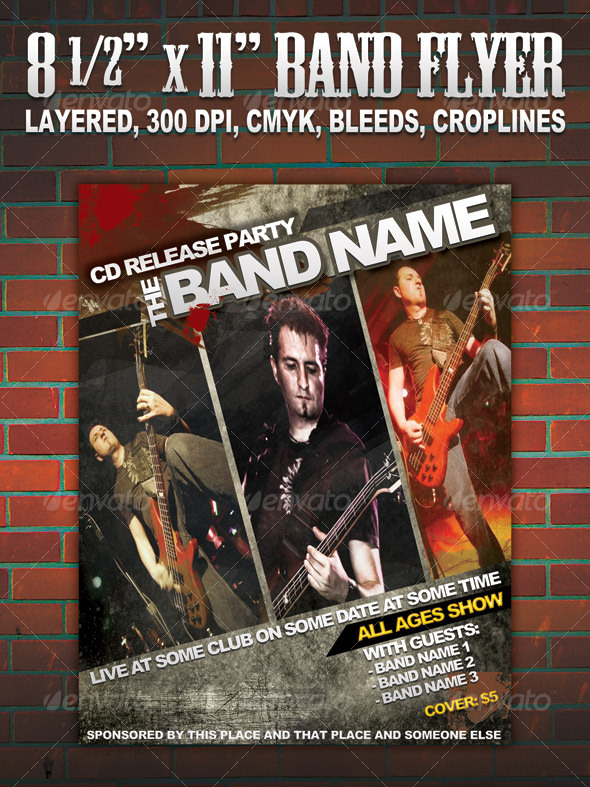 Band Flyer/poster 8 1/2 - Clubs & Parties Events