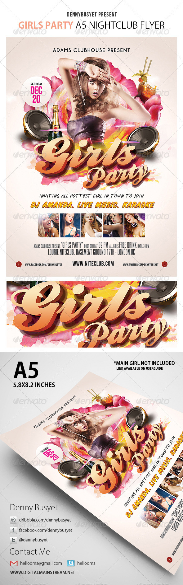 Girls Party Flyer Template - Events Flyers