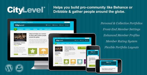 ThemeForest CityLevel BuddyPress & Portfolio Based Community 3090417