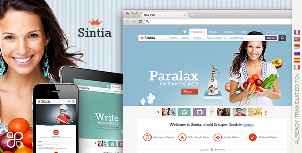 01 sintia.  large preview HQ Retina Display Ready WordPress Themes