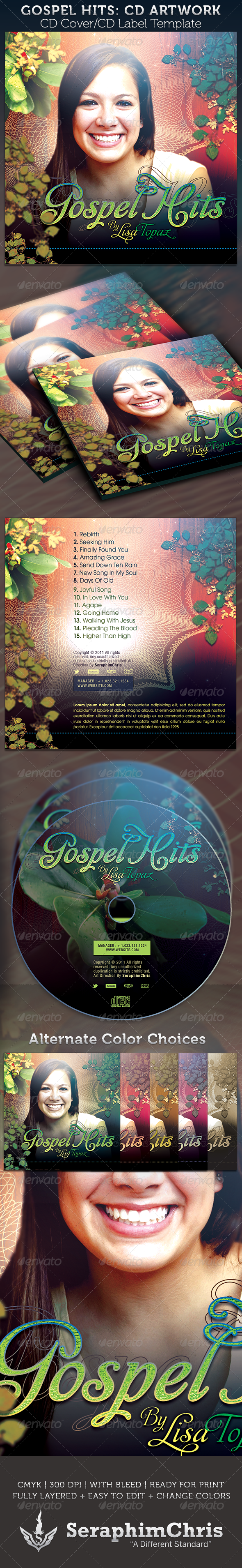 Gospel Hits CD Cover Artwork Template - CD & DVD artwork Print Templates
