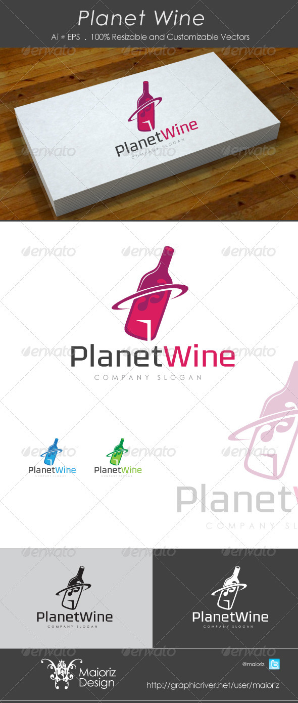 Planet Wine Logo - Vector Abstract