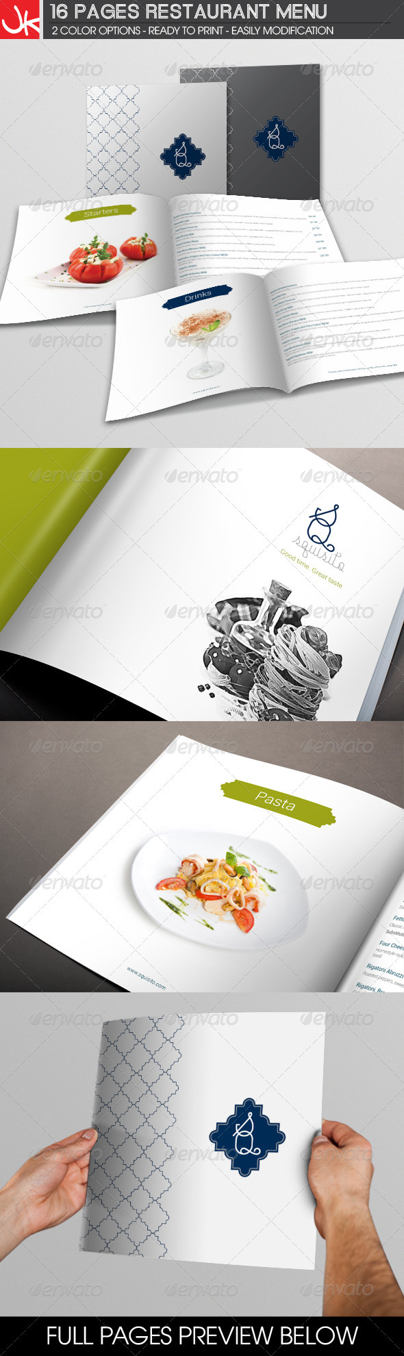 16 Pages Restaurant Menu - Food Menus Print Templates