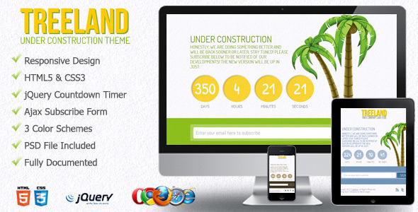 ThemeForest Treeland Under Construction Theme 2936829