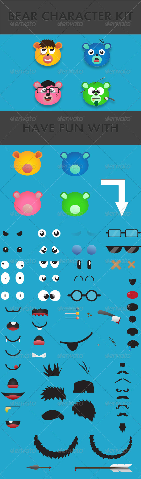 Bear Character Kit - Characters Vectors