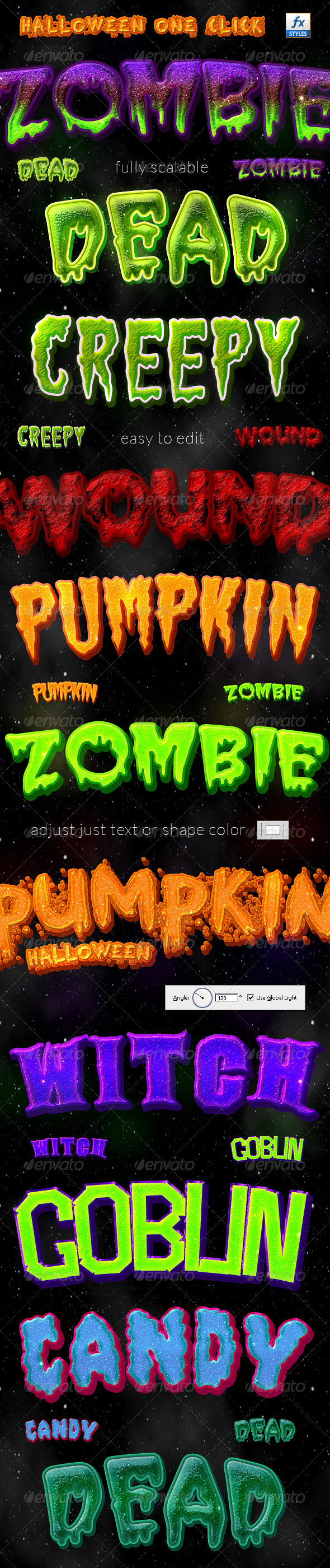 Halloween One Click Layer Styles - Text Effects Styles