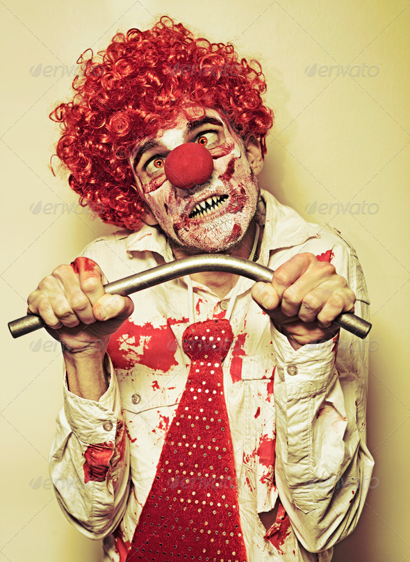 Possessed Horror Clown With Supernatural Strength - Stock Photo - Images