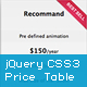 jQuery CSS3 Price Table Plugin - CodeCanyon Item for Sale