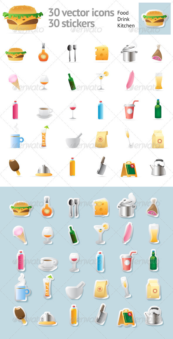 GraphicRiver Set Of 30 Vector Icons For Food And Drinks 3171939