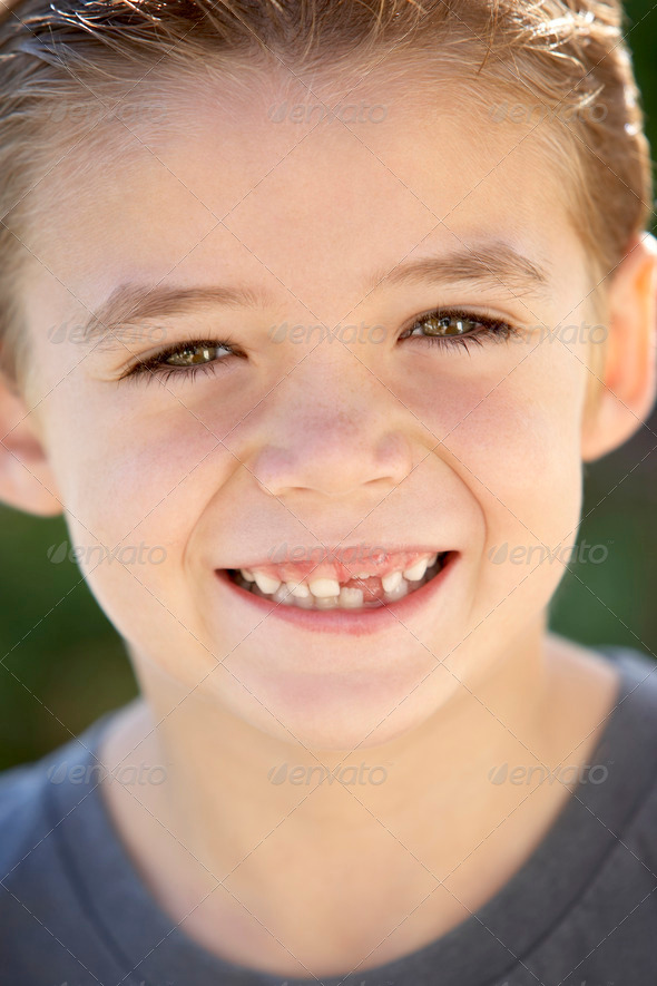 Portrait Of Boy Smiling - Stock Photo - Images