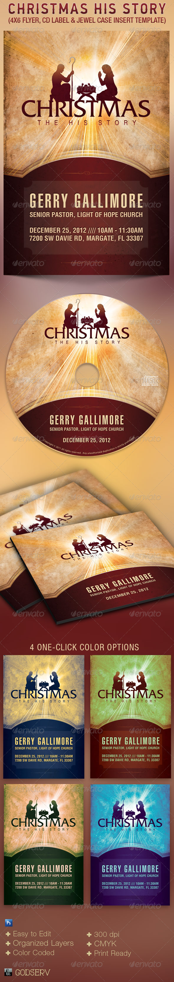 Christmas His Story Flyer and CD Template - Church Flyers