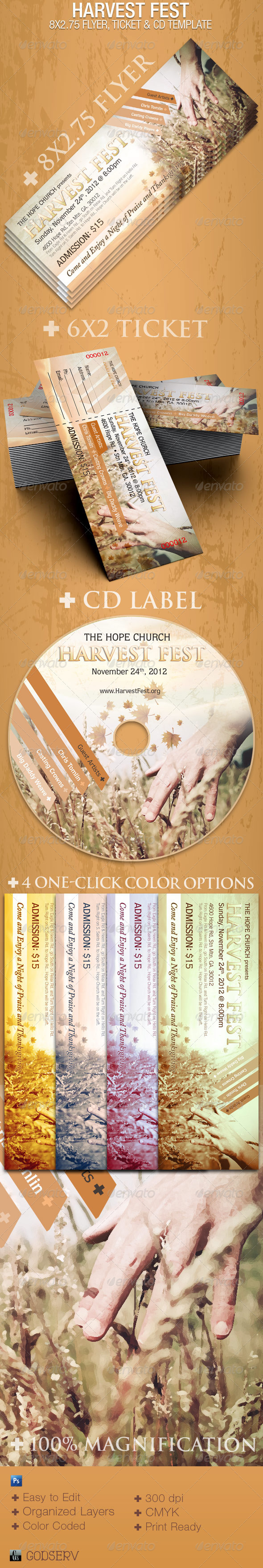 Harvest Fest Photoshop 8x2.75 Flyer Template - Church Flyers