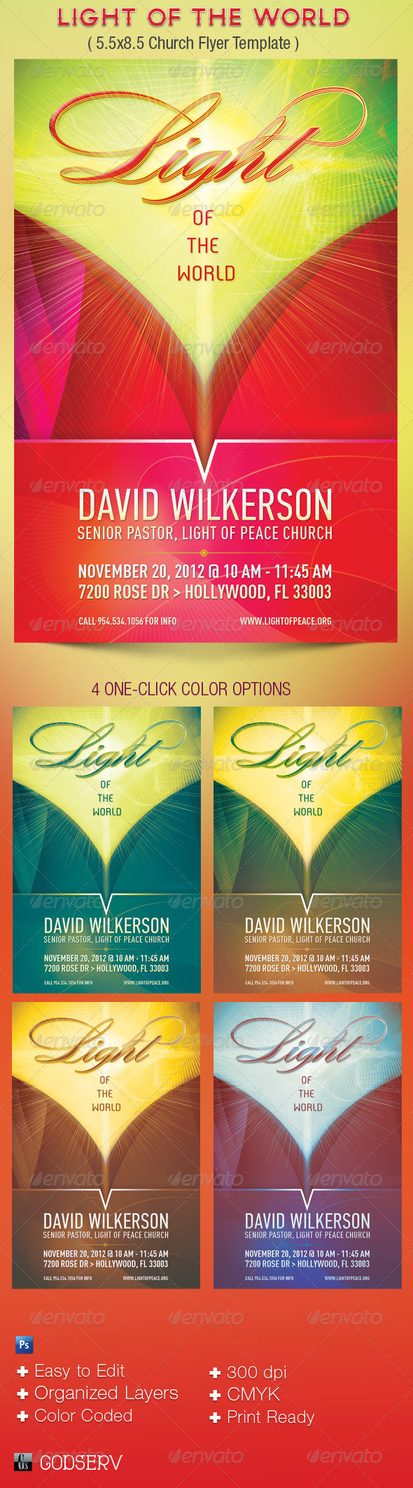 Light of The World  8.5x5.5 Church Flyer Template - Church Flyers
