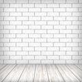 White brick wall with wooden floor in a vintage interior - PhotoDune Item for Sale