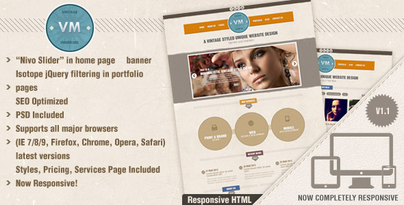 Vintage Immersed - Multipurpose HTML Template - Creative Site Templates