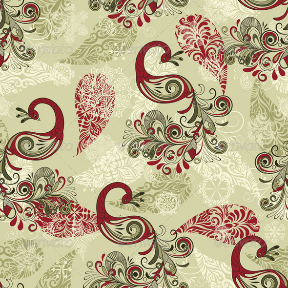 Vector Seamless Winter Pattern with Peacocks and S - Patterns Decorative
