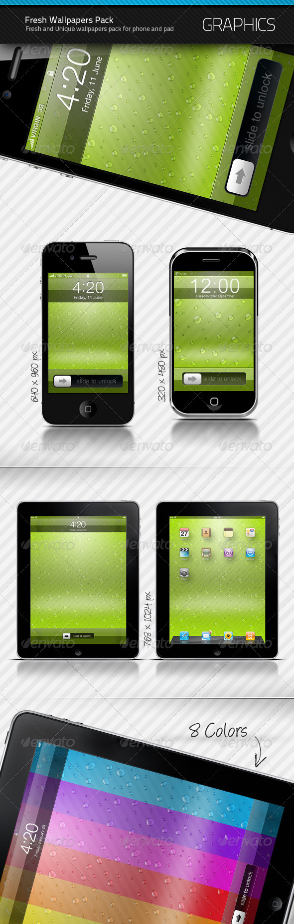GraphicRiver Phone and Pad Fresh Wallpapers Pack 136364