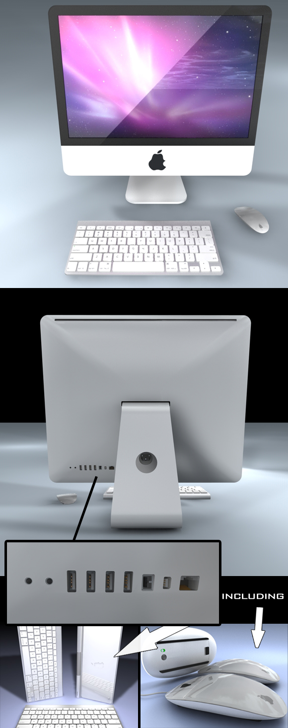 3DOcean miMac Pack incl Computer Screen Mouse and Keyboard 112316