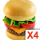 4 Burgers (isolated plasticine objects) - GraphicRiver Item for Sale