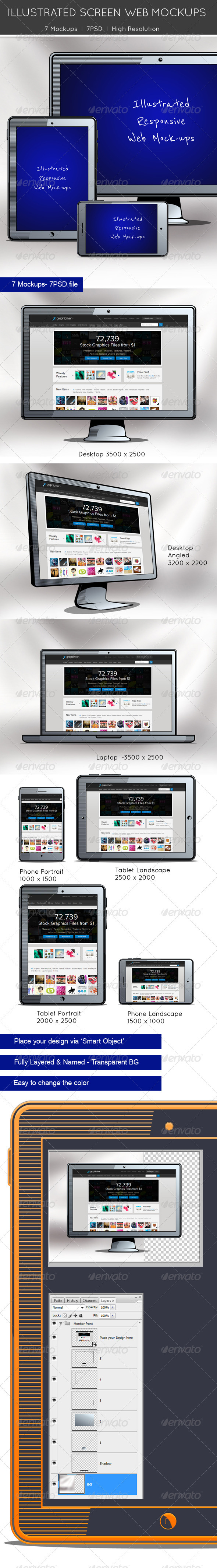 Illustrated Screen Web Mockups - Multiple Displays