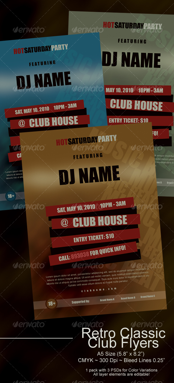 GraphicRiver Retro Classic Club Flyers 111461